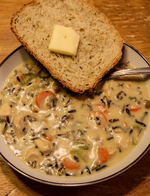 Wild Rice Soup 1 c. Wild Rice, cooked according to package directions 2 Chicken Breasts, diced 2 Ribs Celery 4 medium Carrots, sliced 2 cans cream of mushroom soup 2 cans cream of chicken soup 1 can chicken broth 1 can mushrooms, optional Reserved cooking water