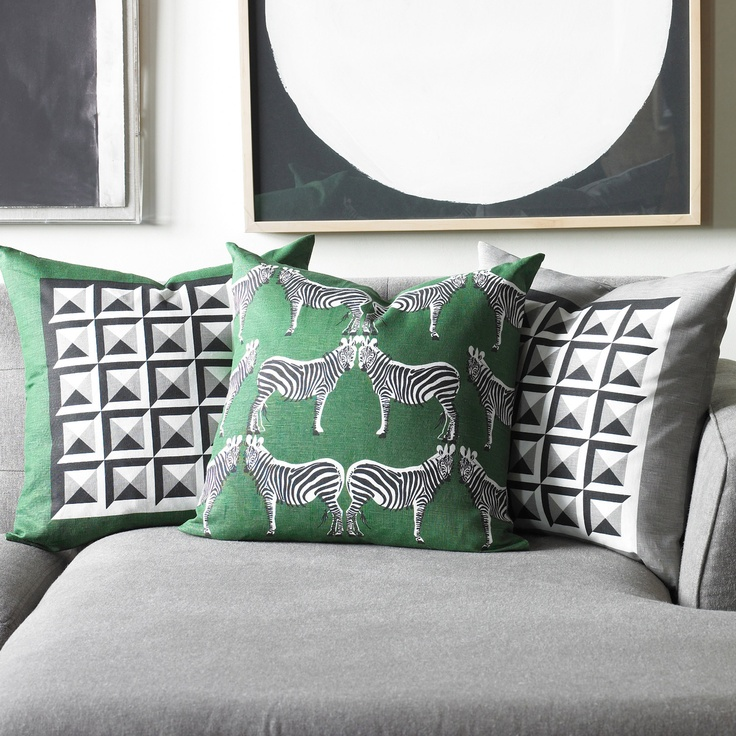 DwellStudio Zebra Kelly Green Pillow - Final Sale @ZincDoor