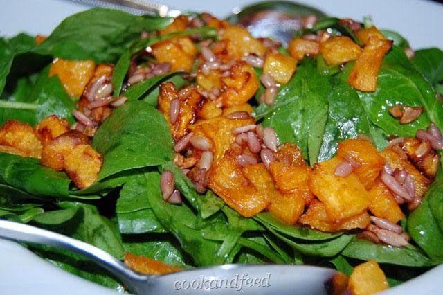 COOKANDFEED : σαλάτα με σπανάκι και κολοκύθα/Spinach and Pumpkin Salad