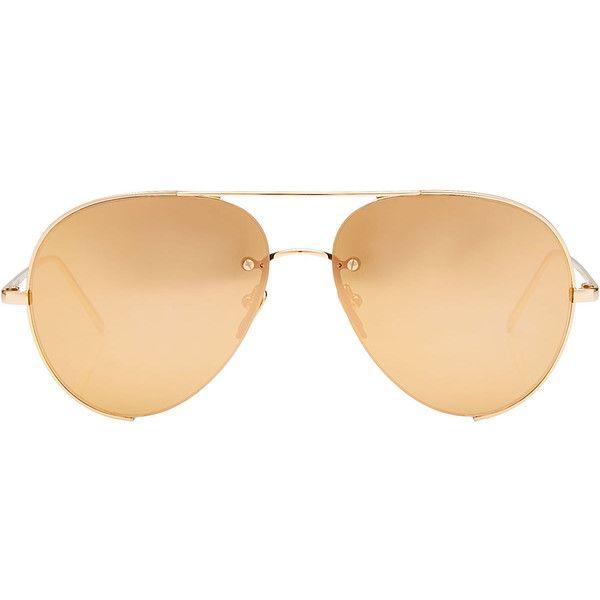 Linda Farrow Mirrored Aviator Sunglasses ($1,150) ❤ liked on Polyvore featuring accessories, eyewear, sunglasses, gold, gold mirror sunglasses, mirror glasses, gold sunglasses, mirrored aviator sunglasses and linda farrow eyewear