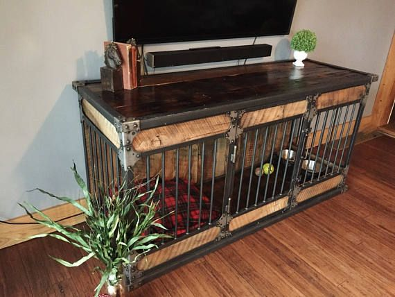 Indoor Dog Kennel - Rustic Industrial Dog Kennel, Dog Crate - Riveted Steel Dog Kennel with Reclaimed Barn Wood #2231