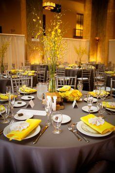 grey yellow white table setting - Google Search