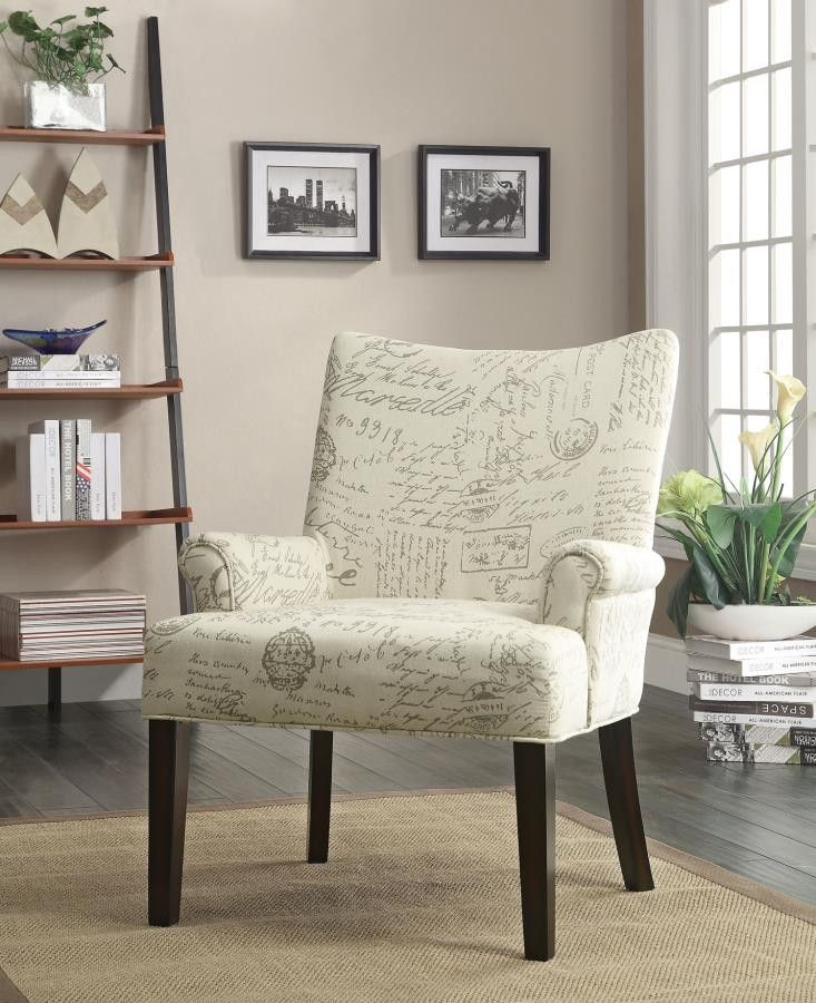 French Script Pattern Accent Chair