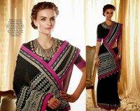 Black Color Sizzling Embroidered Designer  Sari