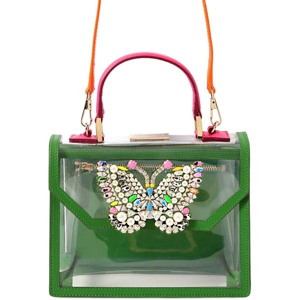 SHOUROUK Acapulco Pvc Bag With Butterfly Detail featuring polyvore, fashion, bags, handbags, shoulder bags, green, green handbags, white handbags, shourouk, butterfly handbag and pvc handbags