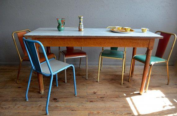 Table Bistro vintage retro 40s rustic feet by Latelierbellelurette
