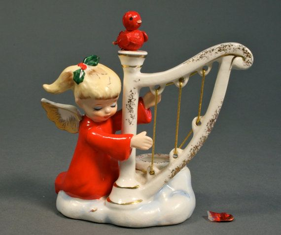 Holt Howard Angel at Harp 6482 Christmas by AuntHattiesAttic, etsy