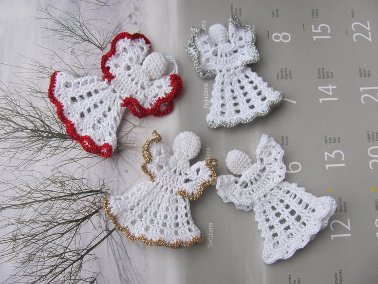 White crochet christmas angel ornament A14 by InKasTrifles on Etsy