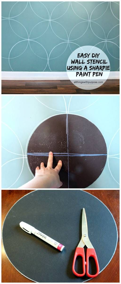 easy diy wall stencil with cardboard and a sharpie paint pen