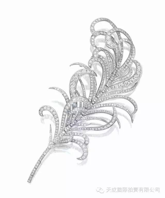 "Diamond ""feather"" brooch , Mikimoto"