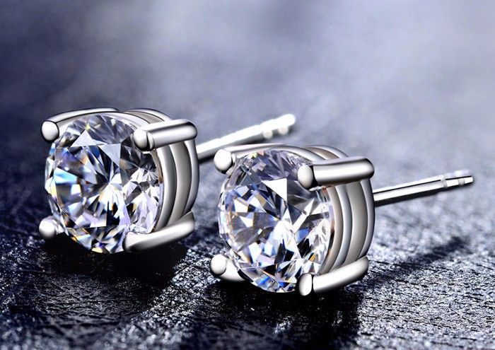 Massive Promotion Have S925 Safety LOGO 100% Stable 925 Sterling Silver Earrings Luxurious 8mm three Carat CZ Diamond Stud Earrings BKE001 - Silver Jewellery 925 - SHOP NOW