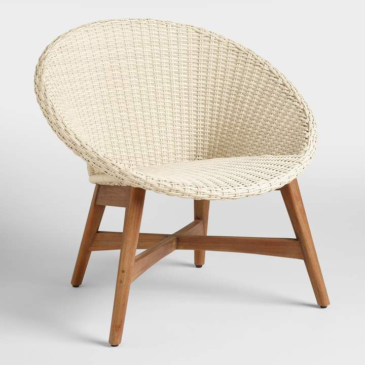 Cost Plus World Market Round All Weather Wicker Vernazza Outdoor Chairs Set Of 2 Outdoor Chair Set Wicker Chair Outdoor Patio Chairs