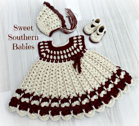 Items similar to Baby Girls Valentine's Day Dress, Bonnet, Mary Jane Shoes - Burgandy and Ivory- Newborn to 12 Months on Etsy