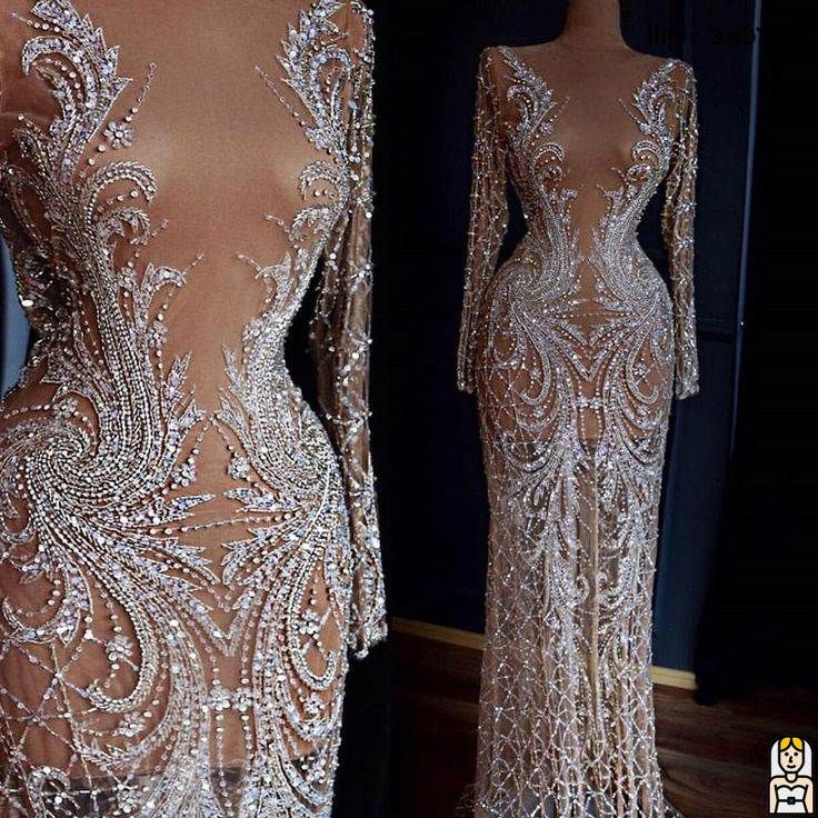 Dubai Designer Luxus Illusion Sexy Abendkleider 2019 Nude Long Sleeve