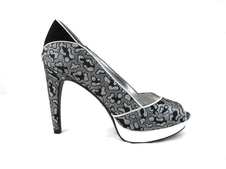 Rampage Gersham womens high heels peep toe metallic sz 8.5M silver black  pumps #Rampage