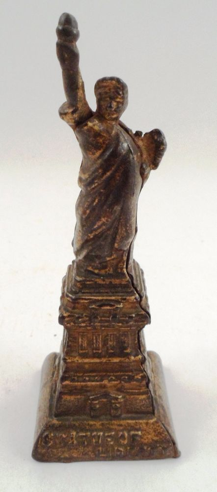 Old Cast Metal Iron Statue of Liberty Ellis Island Figural Still Coin Money Bank #Unbranded