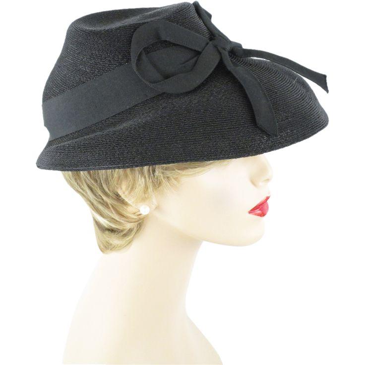 Jean Allen Vintage 1940s Hat Black Straw Slouch Fedora