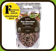 Mulbær med rå sjokolade, fås kjøpt på XXL i Norge.