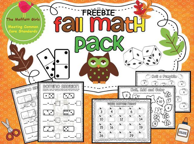 The Moffatt Girls: Fall Math Pack FREEBIE!: Moffatt Girls, Kindergarten Math, Math Ideas, Fall Math, Pack Freebie, Free Fall, Teacher, School Math