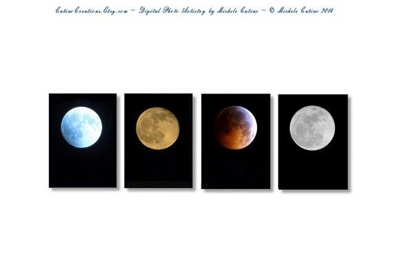 Full Moon Print Set Moon Phases Blue Moon Harvest Moon Eclipse Moon Red Moon Full Moons Supermoon Blood Moon Lunar Eclipse Moon Phases  Choose your size Moon Set from the pull down menu.  You will receive one of each print Blue Moon Harvest Moon Eclipse of the Moon Super Moon  They are titled, signed and dated on the back. Printed on Professional Photo Paper ☆.¸¸.✻ღϠ₡ღ✻ See the CatinoCreations Moon Collection: http://etsy.me/1v3vhzc `*.¸.*✻ღϠ₡ღ¸.✻´´¯`✻.¸¸.♥ •.¸¸. ƸӜƷ ...