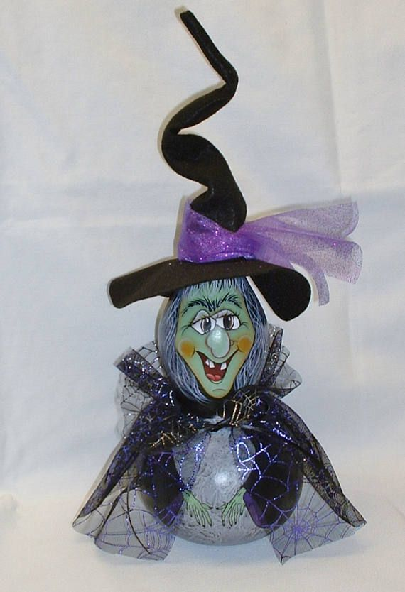 Halloween Witch Gourd  Hand Painted Gourds