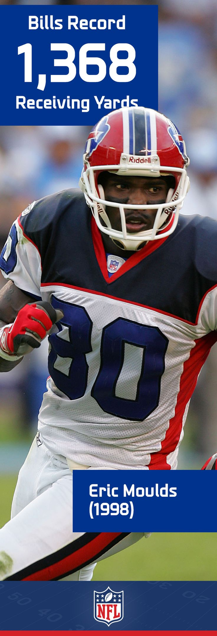 One of the top receivers of his era, Eric Moulds holds the Buffalo Bills' record of 1,368 receiving yards, which he set during his breakout 1998 season.