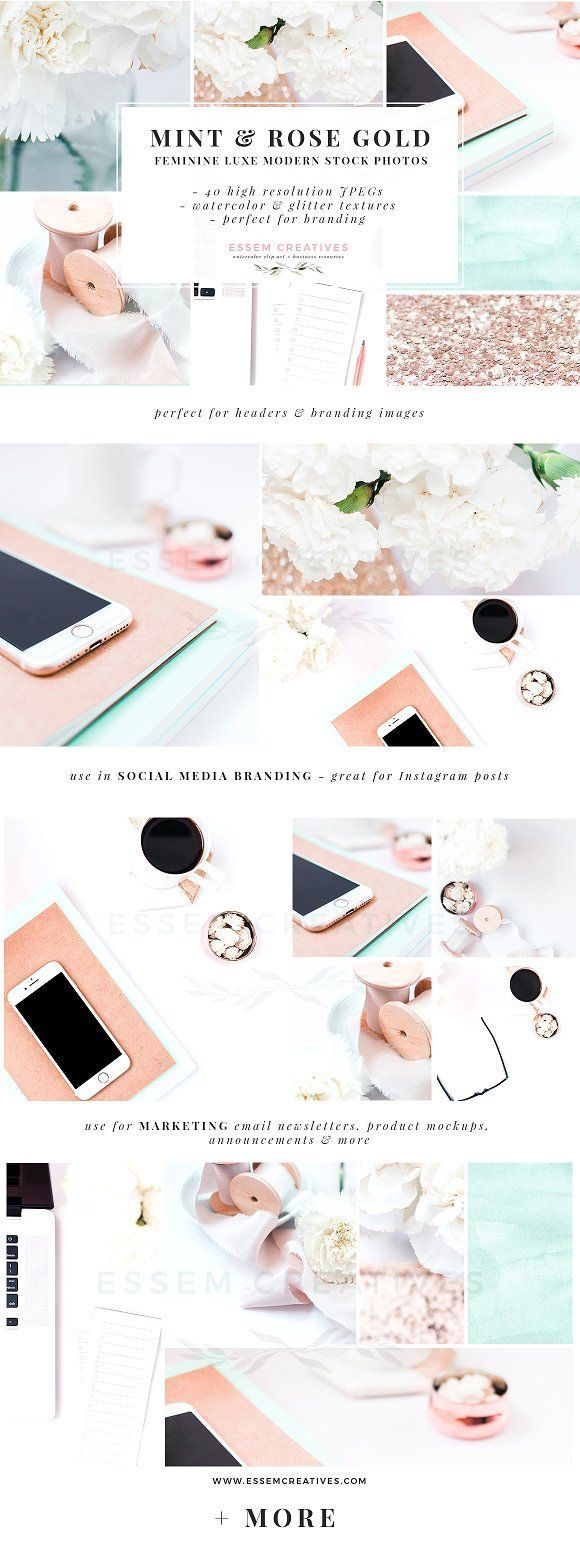 Mint & Rose Gold Stock Photos Bundle. With this set of styled stock photography, you can look stylish and professional, even if you don't have a dedicated photography team. If you struggle to find the time to put together on-brand, clean & eye-grabbing images on your Instagram Blog Pinterest Facebook Twitter, then this will help you put up consistent and on-brand images on your various web platforms