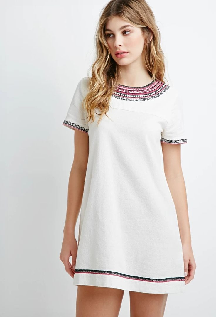 Embroidered Trim Shift Dress #thelatest