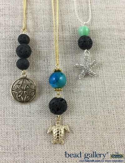 DIY Lava diffuser necklaces using Bead Gallery beads and charms #madewithmichaels