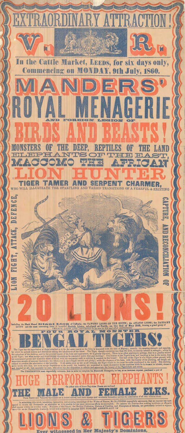 V.R. Manders Royal Menagerie 1860; Vintage Circus Poster from the Leeds Playbill Archive