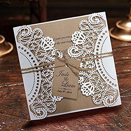 Amazon.com: White Rustic Wedding Invitation Cards, Customized Kraft Wedding Invitations, Laser Cut Invitations - Set of 50: Kitchen & Dining