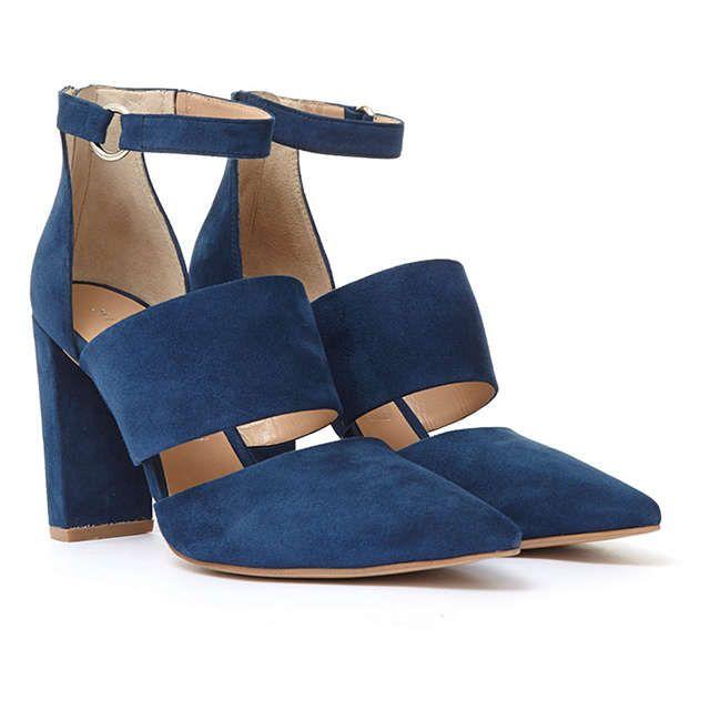 BuyMint Velvet Felicity Cut Out Pointed Toe Court Shoes, Dark Blue, 3 Online at johnlewis.com