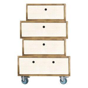 Commode à roulettes en bois de pin, marron clair et blanc, 35x32x55 cm