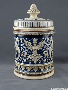 Alter-Tabaktopf-Kautabaktopf-Historismus-Keramik-Tabakdose-Modell-1513