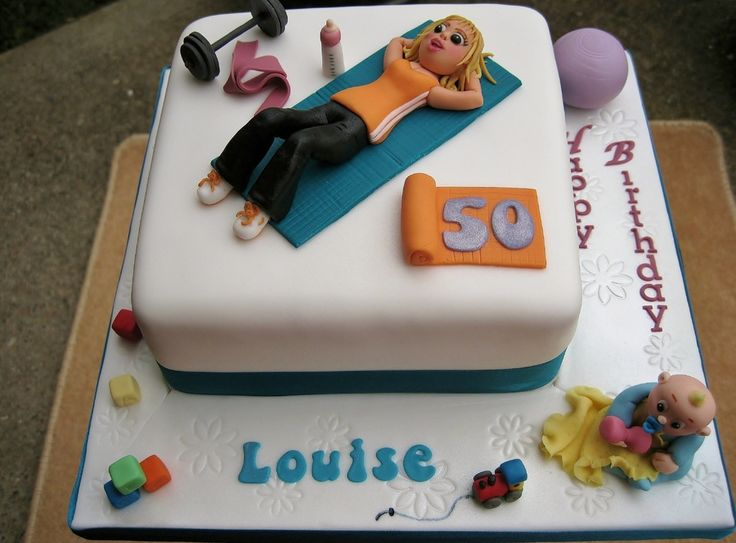 Cake for a Pilates child minder, hence all the gym stuff and the little baby with his things round the base.