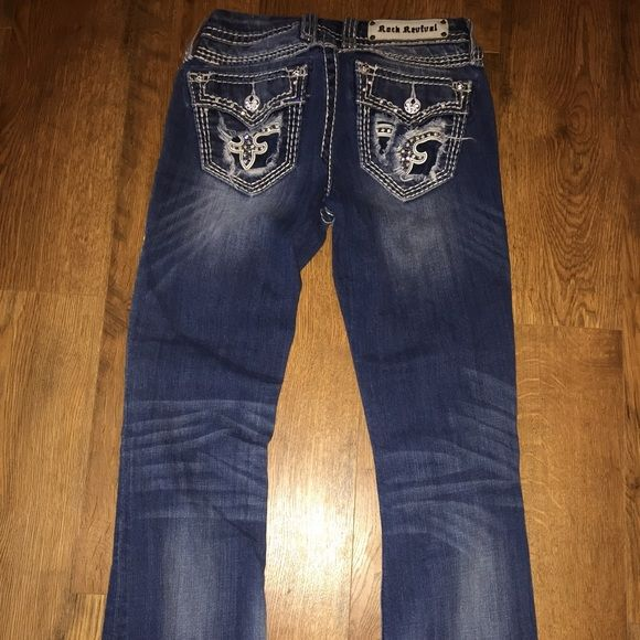 Rock Revival Leather & Sequin Jean New condition-no holes, stains or fading. Worn maybe a handful of times..Length 31. Leather and Sequin. Very stylish jeans. These are actually 1 of my faves! 100% Authentic. Heaven Easy Boot Size 26. Rock Revival Jeans Boot Cut