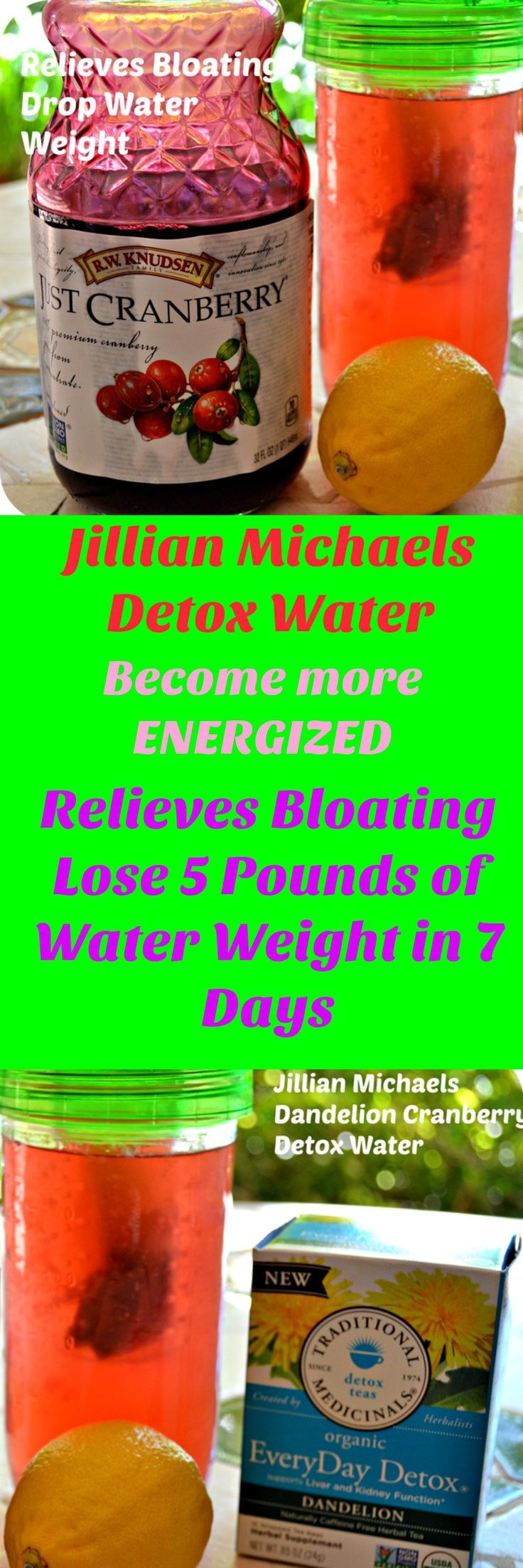 Jillian Michaels 7 Day Detox Water. Lose 5 pounds of water weight in 7 days.