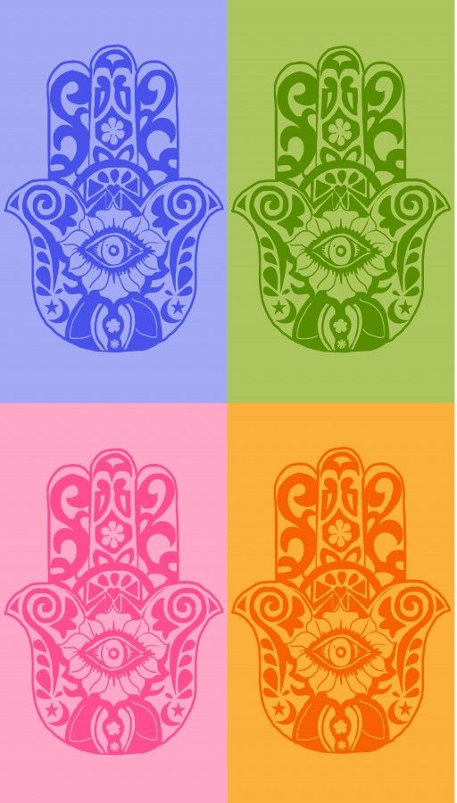 Ward off the evil eye with these hamsa design iPhone wallpapers. Choose from these four colors.