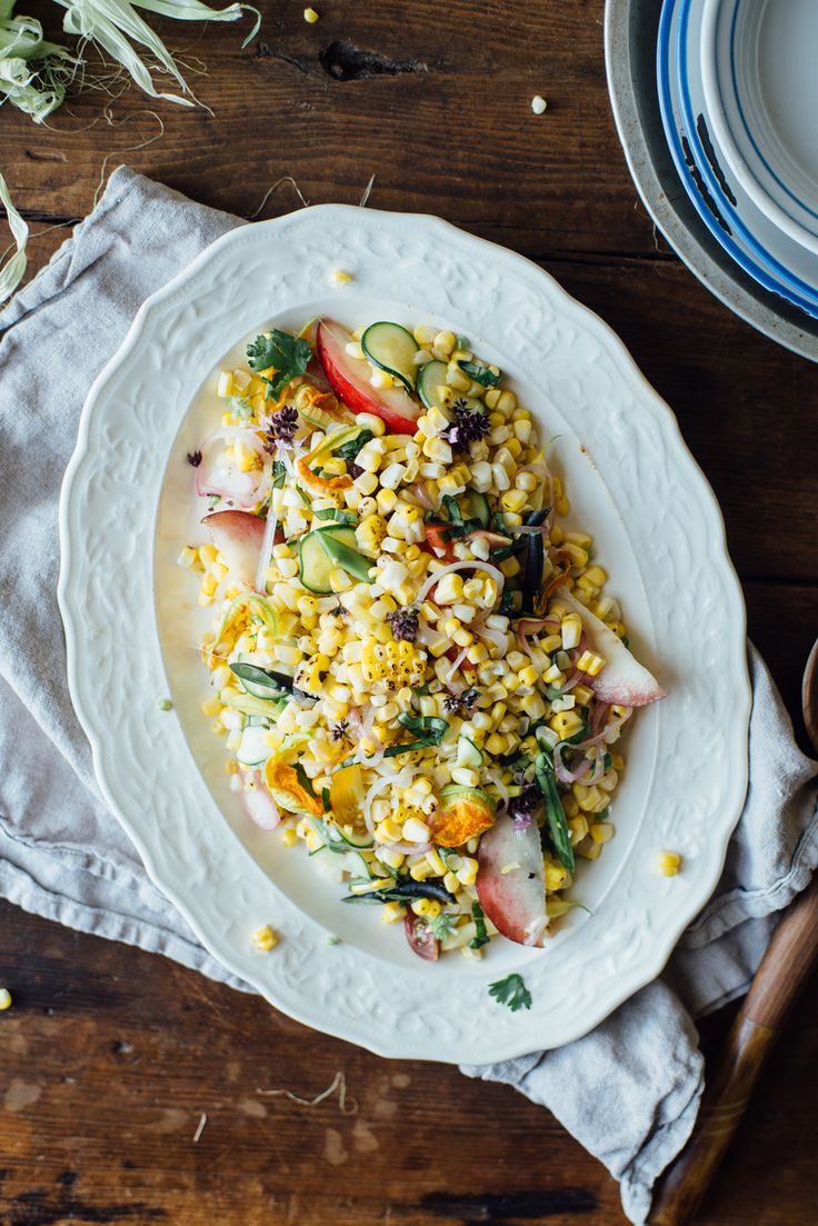 pickled corn succotash salad w/ heirloom beans + white nectarine