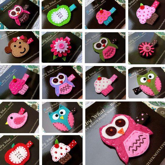 Hair Clips Hair Clippie Barette  Owl Cupcake by babywhatknots