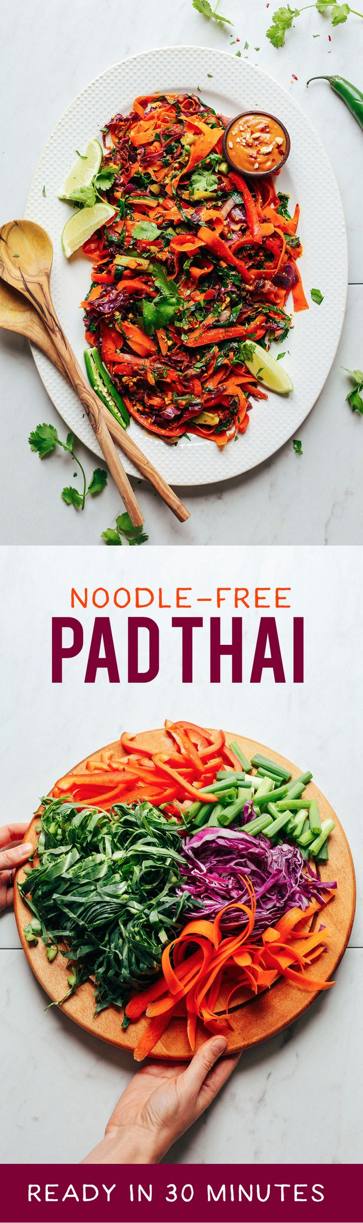INCREDIBLE Noodle-Free Pad Thai! 30 minutes, entirely #plantbased, SO delicious! #vegan #glutenfree #padthai #minimalistbaker #recipe