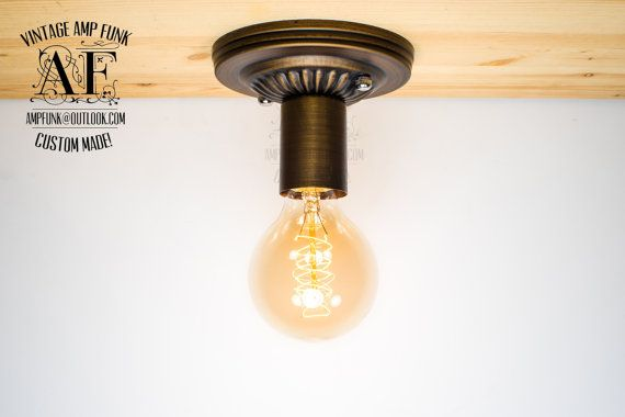 Bronze Ceiling light Industrial ceiling light, Antique Edison Bulb, Lamp, Rustic Lighting