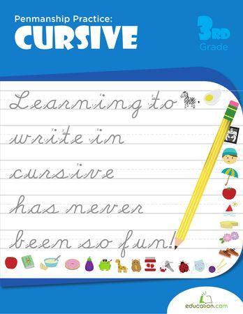 Workbooks: Penmanship Practice: Cursive. Great pic! Have a look at this Cursive Handwriting post. http://www.tpt-fonts4teachers.blogspot.com/2013/02/cursive-style-fonts-family.html