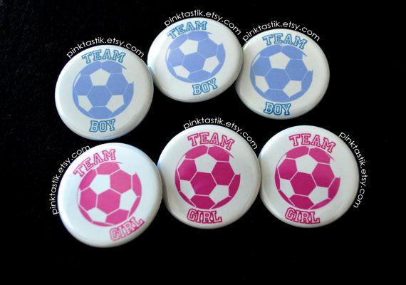 Gender Reveal Buttons Soccer Baby Shower Soccer by PINKTASTIK