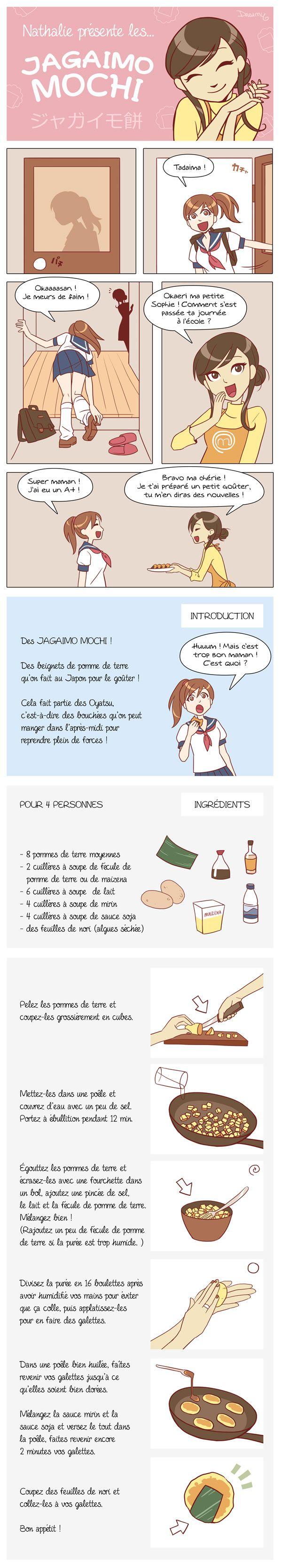 CUISINE - La recette des Jagaimo Mochi en BD - Des beignets de pomme de terre que l'on fait au Japon pour le goûter                                                                                                                                                     Plus