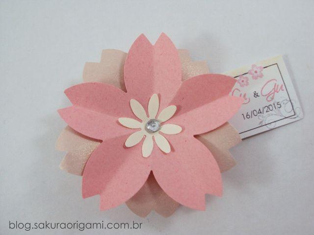 Lembrancinhas de Casamento ímã de flor de sakura (flor de cerejeira) - Sakura Origami Ateliê
