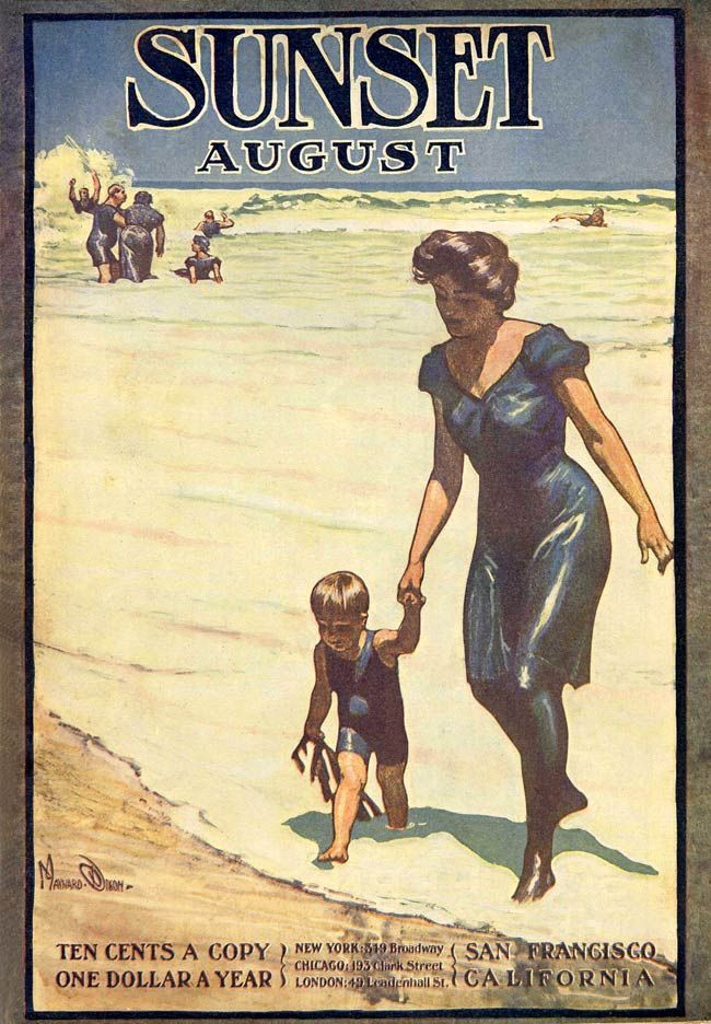August 1905  -   A mother walks her baby boy up off the beach; in the background, happy bathers cavort in the surf. The boy is carrying a nice stalk of dead kelp.  -  Artist: Maynard Dixon  -  Source: Photographer PopKulture