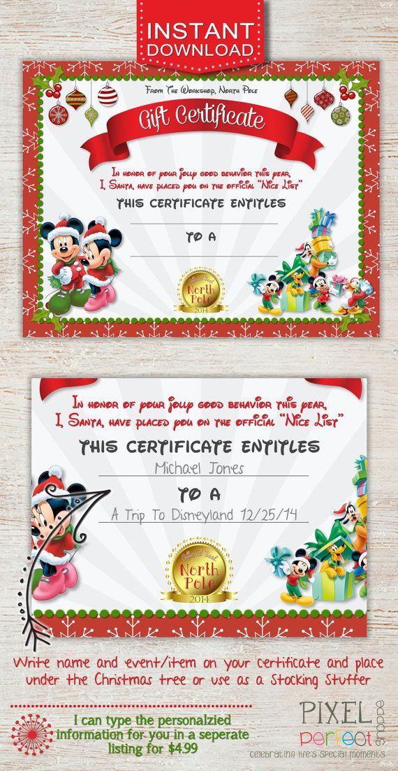 christmas gift certificate  disney trip gift certificate