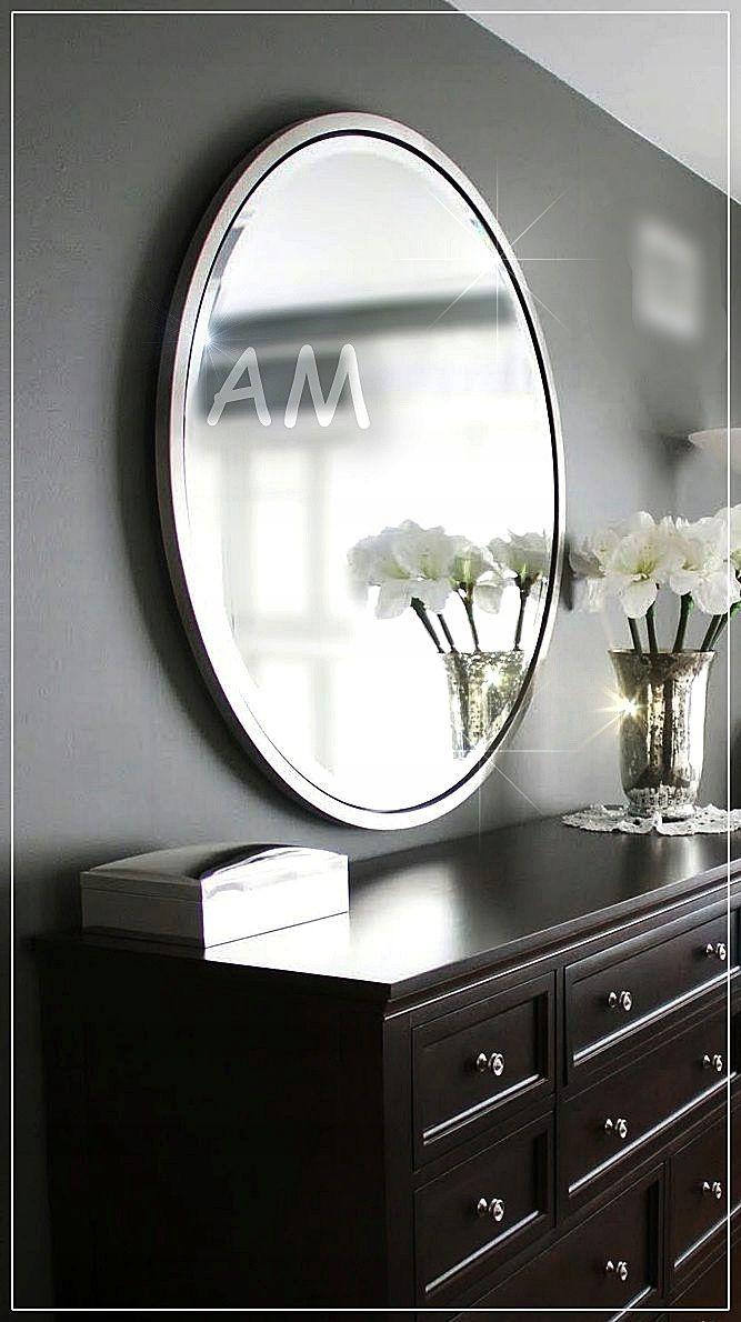 Piekne Duze Lustro Z Faza Srebrna Rama 7623592668 Oficjalne Archiwum Allegro Round Mirror Bathroom Bathroom Mirror Mirror