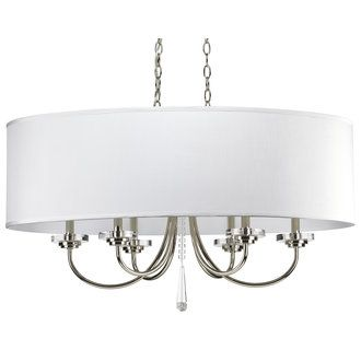 Progress Lighting P4431 Six Light Oval Chandelier with Rich Off White Silken Fabric Oval Shade from the Nisse Collection